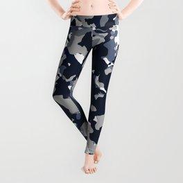 Blue Grey Camouflage Leggings