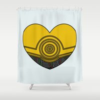 c3po Shower Curtains featuring C3PO Character Heart by Hugh & West