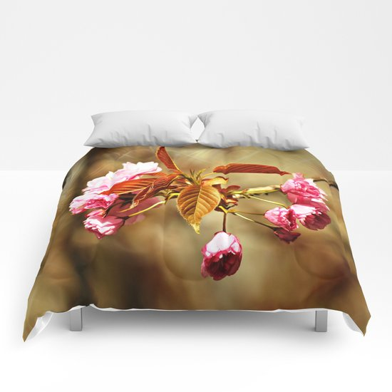 Vintage Cherry Blossoms Comforters