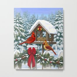 Red Cardinals and Christmas Bird Feeder Metal Print