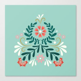 Floral Folk Pattern Canvas Print