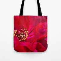 peony Tote Bags featuring Peony by Christine Belanger