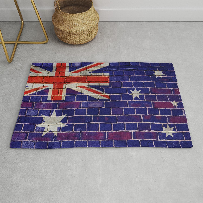 Australia Flag On A Brick Wall Rug By