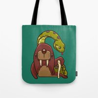 anaconda Tote Bags featuring The Walrus and the Anaconda by Artistic Dyslexia
