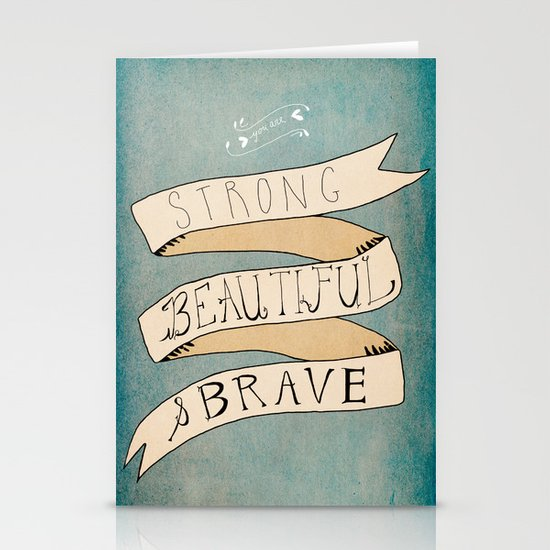Strong Beautiful Brave Stationery Cards