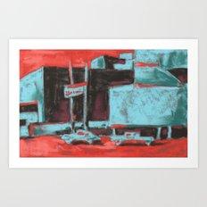 Townscape, cityscape, architectural art, Las Vegas scene Art Print