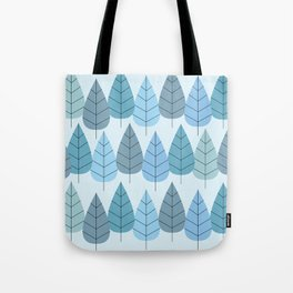 Mid century Trees in Blue Tote Bag