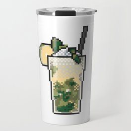 Refreshing icy lemonade with mint, lemon and ice pixel art on white background. Travel Mug