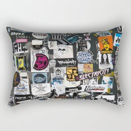 A Dutch wall full of stickers Rectangular Pillow
