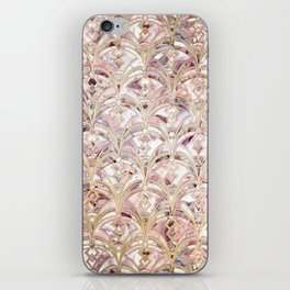 Dusty Rose and Coral Art Deco Marbling Pattern iPhone Skin