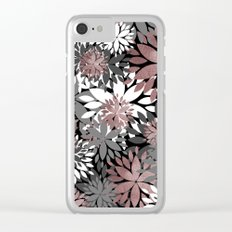 Pretty rose gold floral illustration pattern Clear iPhone Case