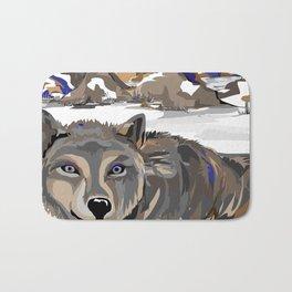 """Lone Wolf"" Paulette Lust's Original, Contemporary, Whimsical, Colorful Art  Bath Mat"