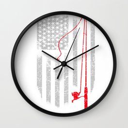 Fishing Rod in the US flag Wall Clock
