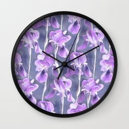 Simple Iris Pattern in Pastel Purple Wall Clock