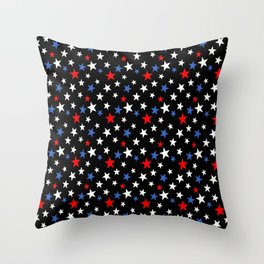Bold Patriotic Stars In Red White and Blue on Black Throw Pillow