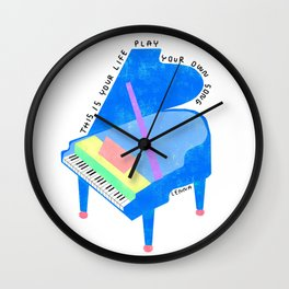 Your Life, Play Your Song - Piano Illustration Jazz Band Classical Music Musician Pianist Positive Wall Clock