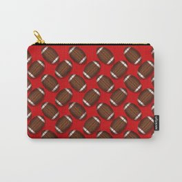 Sporty Footballs Design on Red Carry-All Pouch