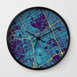 Riyadh Neon City Map, Riyadh Minimalist City Map Art Print Wall Clock