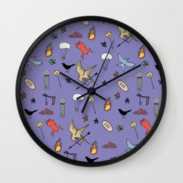 Hunger Game quality pattern  - purple version Wall Clock