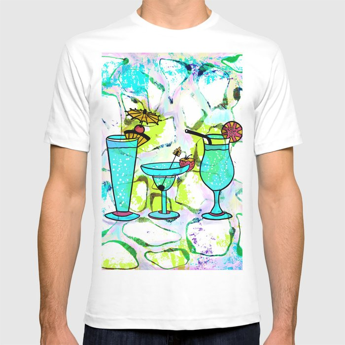 9d4cc1a8a Summer Pool Party Cocktails , Watercolor Painting in Aqua Tequila Sunrise  Colors T-shirt