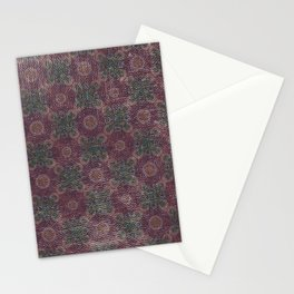 Vintage abstract burgundy green geometrical pattern Stationery Cards