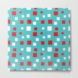 Red and White Squares on Blue Metal Print