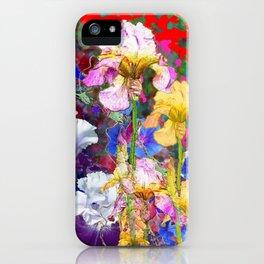 Decorative Spring  Garden Yellow & Pink Iris in Blue-Red iPhone Case