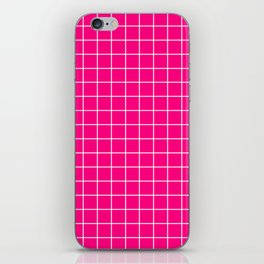 Bright pink - pink color - White Lines Grid Pattern iPhone Skin
