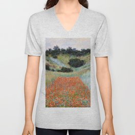 Poppy Field in a Hollow near Giverny by Claude Monet Unisex V-Neck