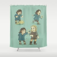 fili Shower Curtains featuring Sunshine and Flowers by MelColley