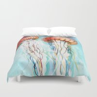 jelly fish Duvet Covers featuring Jelly Fish  by Felicia Atanasiu