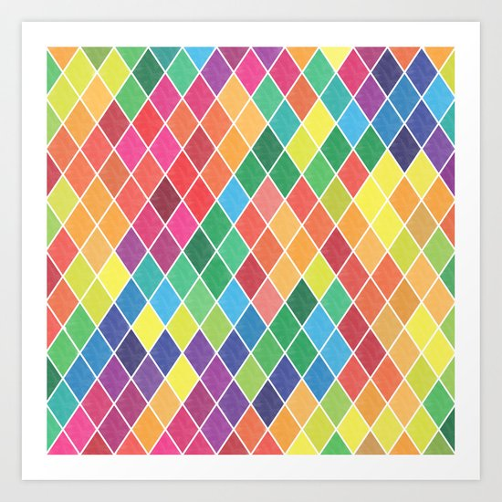 Watercolor Geometric Pattern II Art Print