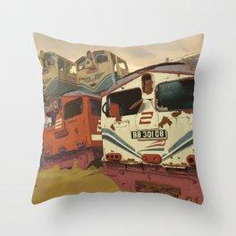 Train Graveyard Throw Pillow