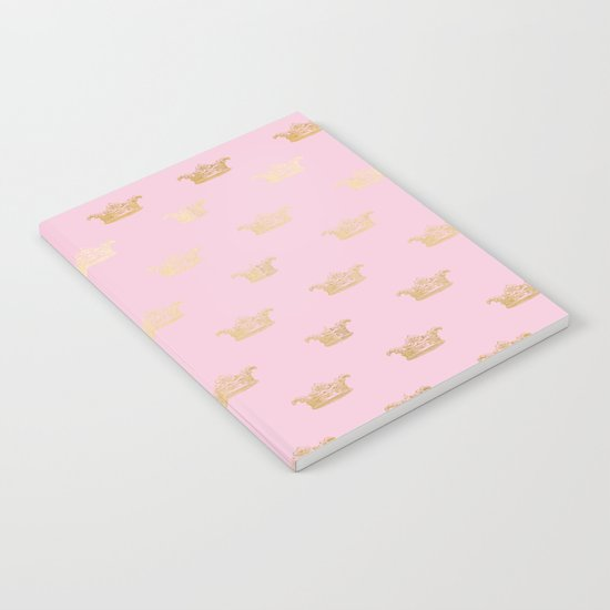Princess gold crown pattern on pink background Notebook