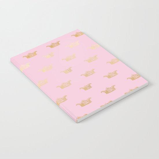 Princess gold crown pattern on pink backround Notebook