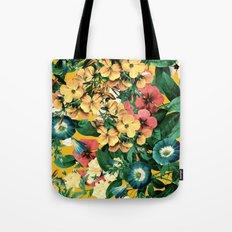 Tangerine Floral Pattern Vintage Tote Bag