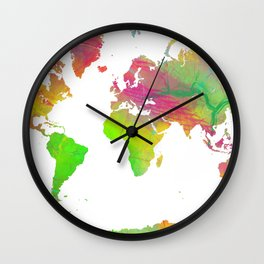 World Map - Watercolor 10 Wall Clock