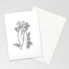 Hands Holding Minimal Line Art Stationery Cards