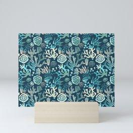 coral pattern blue Mini Art Print
