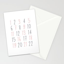 Numbers - Pink Stationery Cards