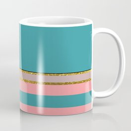Teal With Pink And Gold Coffee Mug