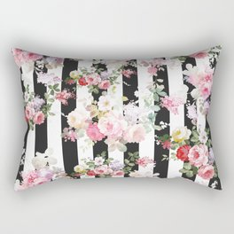 Bold pink watercolor roses floral black white stripes Rectangular Pillow