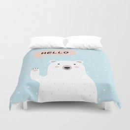 Cute Polar Bear in the Snow says Hello Duvet Cover