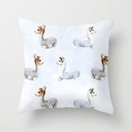 Alpaca in the clouds Throw Pillow