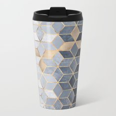 Soft Blue Gradient Cubes Metal Travel Mug