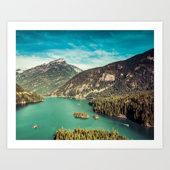 Lake Diablo - Blue and Green Water and Trees Art Print