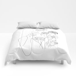 Minimal Line Art Woman with Flowers III Comforters