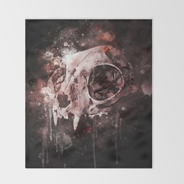 Tattoo cat skull watercolor painting | Original Design Throw Blanket