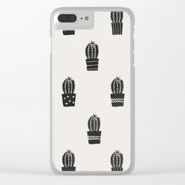 Stamped Potted Cacti Clear iPhone Case
