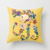 sleeping beauty Throw Pillows featuring Sleeping Beauty by Shelley Ylst Art